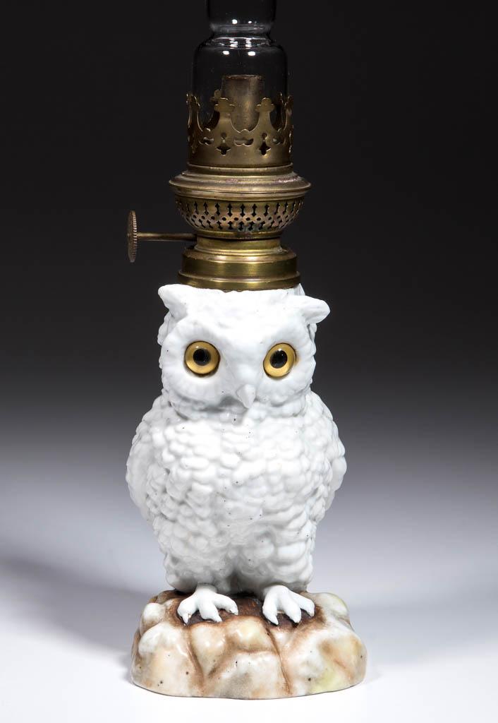 PORCELAIN OWL FIGURAL MINIATURE LAMP