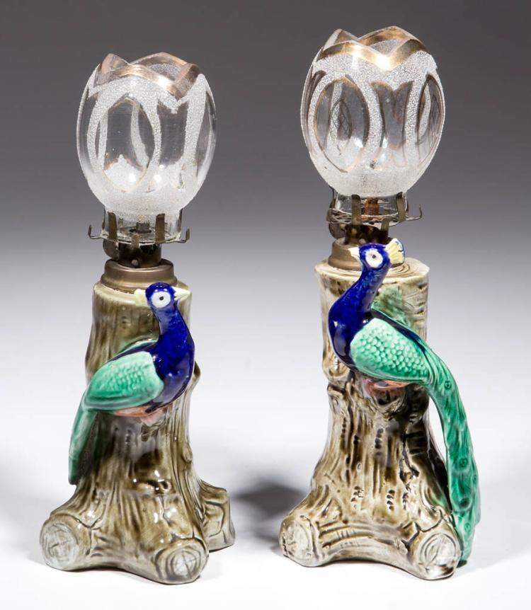 PORCELAIN PEAFOWL FIGURAL MINIATURE LAMPS, PAIR