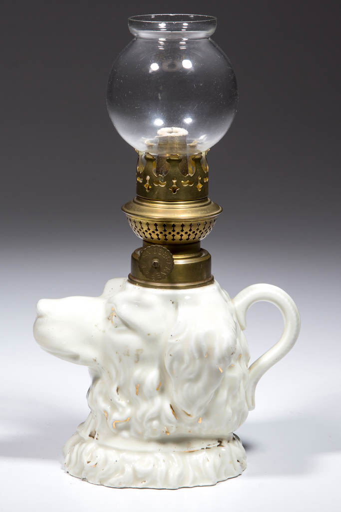 PORCELAIN DOG-HEAD FIGURAL MINIATURE FINGER LAMP
