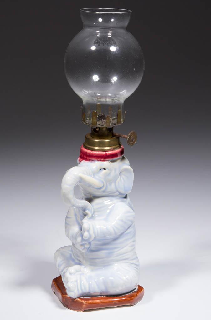 PORCELAIN PLAYFUL ELEPHANT FIGURAL MINIATURE LAMP