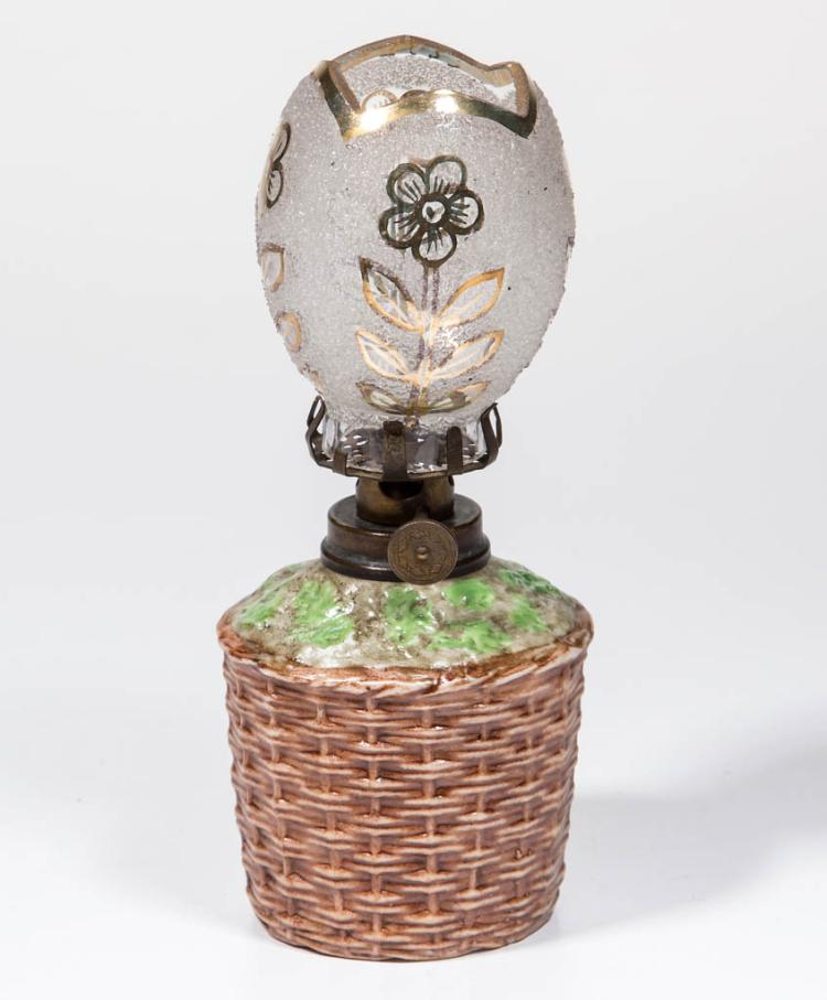 BISQUE BASKET FIGURAL MINIATURE LAMP