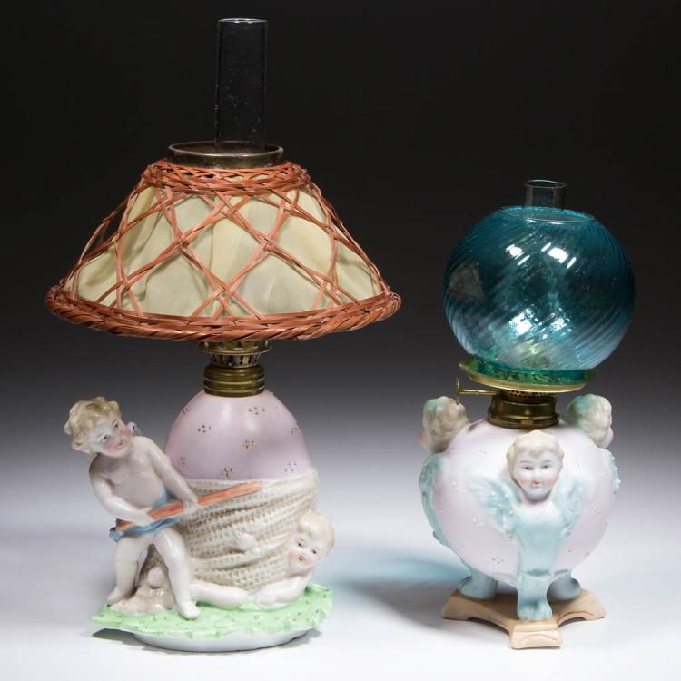 BISQUE CHERUBS FIGURAL MINIATURE LAMPS, LOT OF TWO