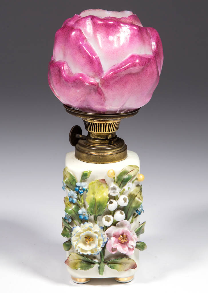 CERAMIC APPLIED FLORAL DECORATED MINIATURE LAMP