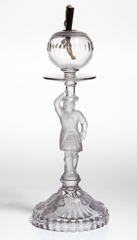 FRENCH PORTEUX FIGURAL STEM LACEMAKER'S LAMP