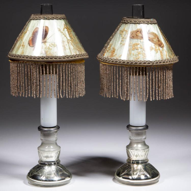 GLASS CANDLESTICK FIGURAL PEG LAMPS, PAIR