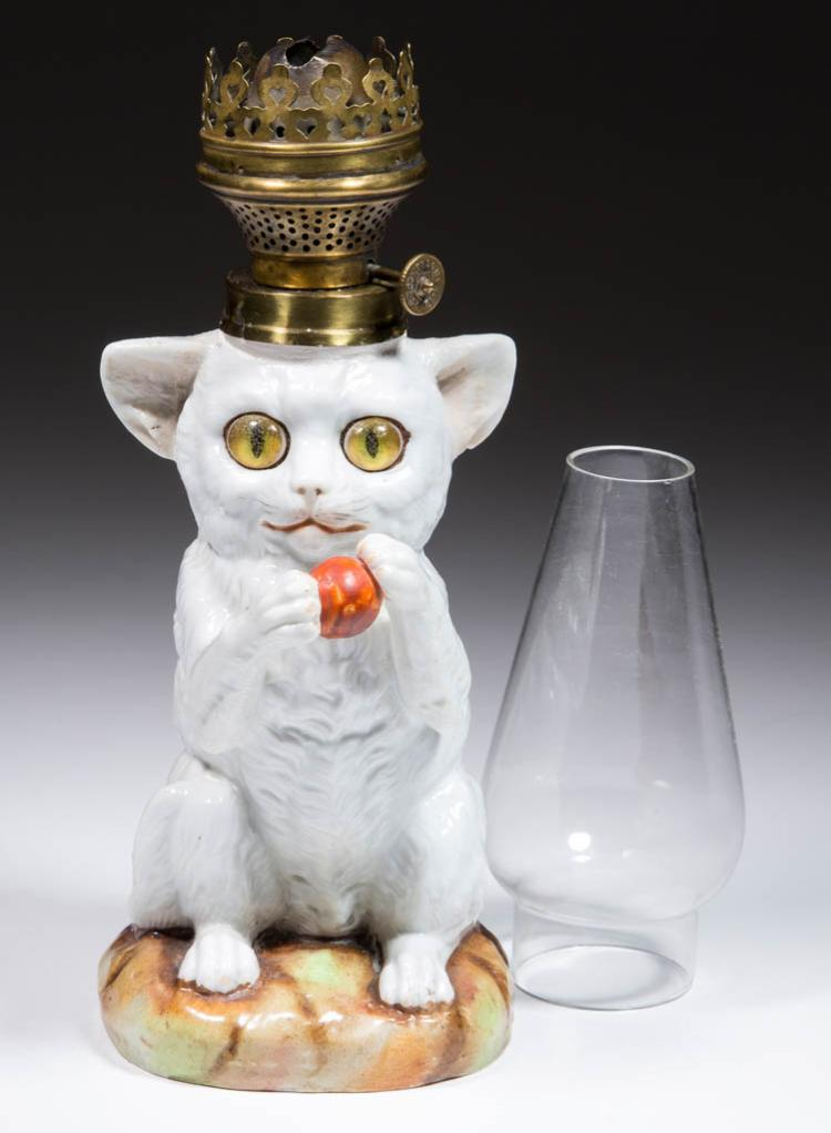 PORCELAIN PLAYFUL CAT FIGURAL MINIATURE LAMP