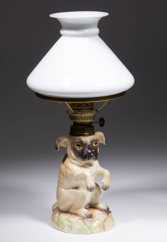 PORCELAIN PUG DOG FIGURAL MINIATURE LAMP