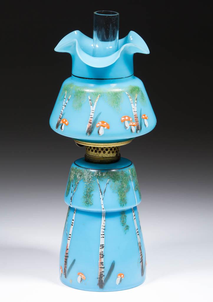 VICTORIAN BIRCH-TREE DECORATED MINIATURE LAMP
