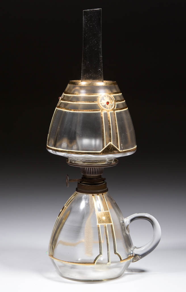 VICTORIAN DECORATED PANEL-OPTIC MINIATURE FINGER LAMP