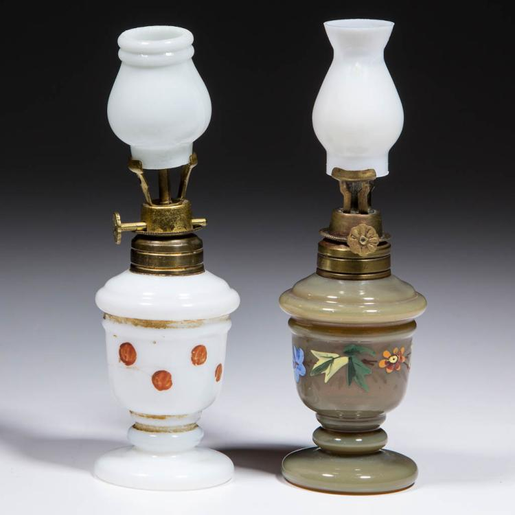 ASSORTED BLOWN-MOLDED MINIATURE STAND LAMPS, LOT OF TWO