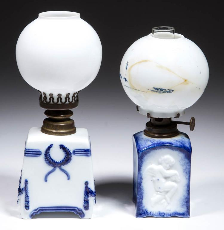 ASSORTED PORCELAIN DELFT-STYLE MINIATURE LAMPS, LOT OF TWO