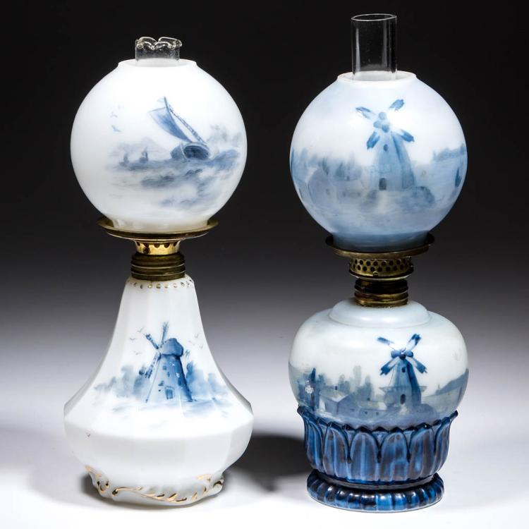 DELFT-DECORATED OPAL MINIATURE LAMPS, LOT OF TWO