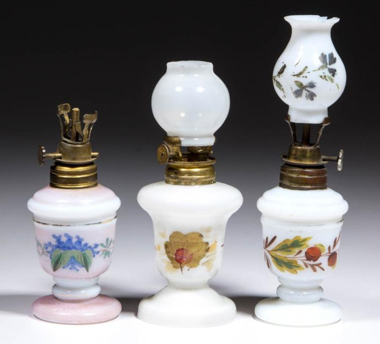 ASSORTED DECORATED OPAQUE GLASS MINIATURE LAMPS, LOT OF THREE