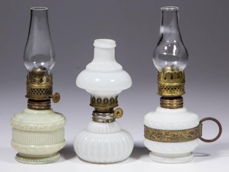 ASSORTED OPAQUE GLASS MINIATURE LAMPS, LOT OF THREE