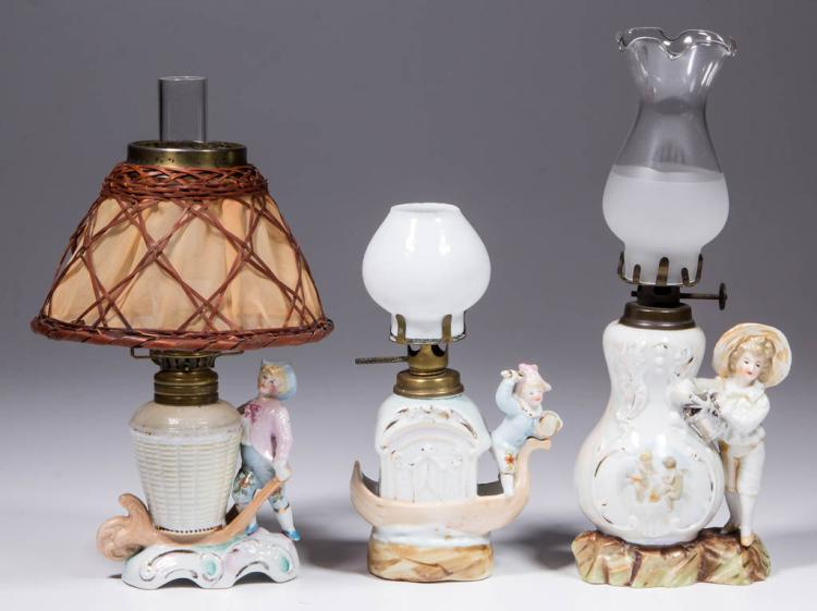 ASSORTED PORCELAIN FIGURAL MINIATURE LAMPS, LOT OF THREE