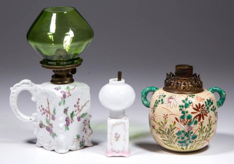PORCELAIN FLORAL DECORATED MINIATURE LAMPS, LOT OF THREE