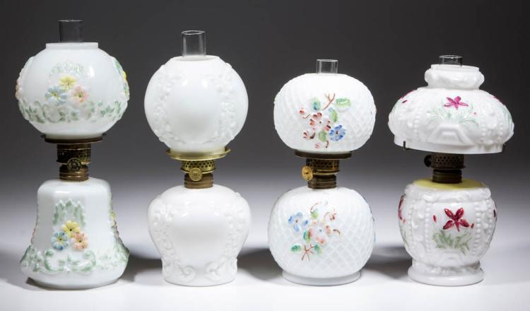 ASSORTED FLORALPATTERNED OPAQUE GLASS MINIATURE LAMPS, LOT OF FOUR