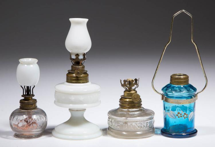 ASSORTED PATTERN MINIATURE LAMPS, LOT OF FOUR