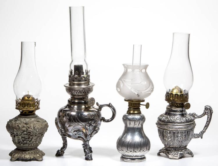 ASSORTED SILVER-PLATE AND OTHER METAL MINIATURE LAMPS, LOT OF FOUR