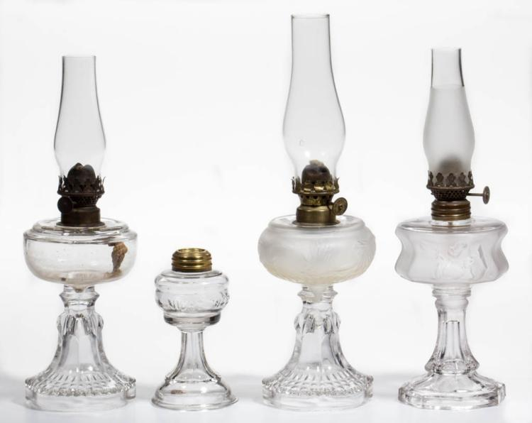 ASSORTED PATTERN MINIATURE STAND LAMPS, LOT OF FOUR