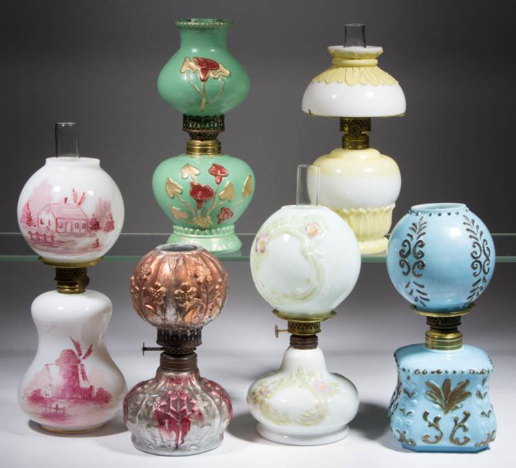 ASSORTED OPAQUE GLASS MINIATURE LAMPS, LOT OF SIX