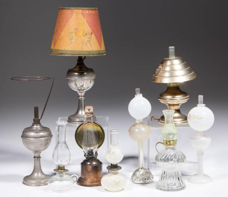ASSORTED GLASS AND METAL DOLLHOUSE MINIATURE LAMPS, LOT OF NINE
