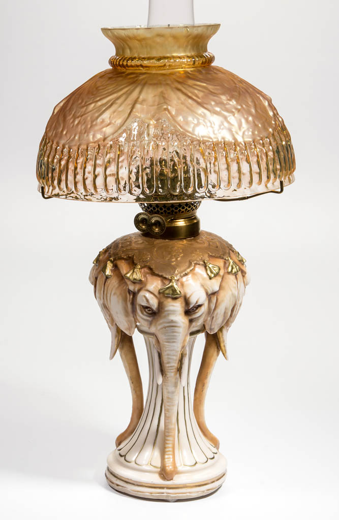 PORCELAIN FIGURAL ELEPHANT KEROSENE STAND LAMP
