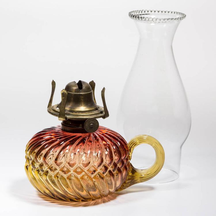 VICTORIAN AMBERINA BLOWN-MOLDED KEROSENE FINGER LAMP