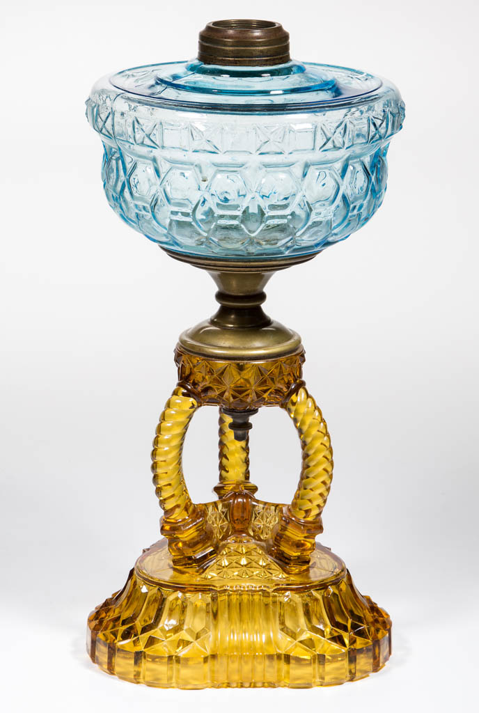 CATHEDRAL KEROSENE COMPOSITE STAND LAMP