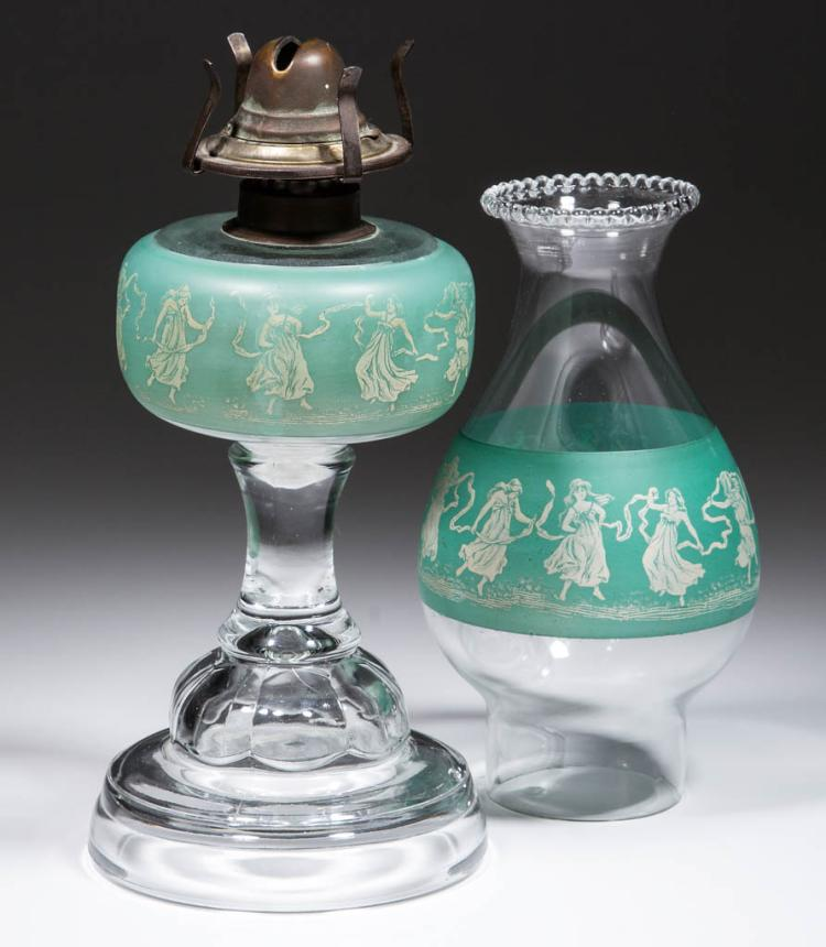 PRESSED AND DECORATED KEROSENE STAND LAMP