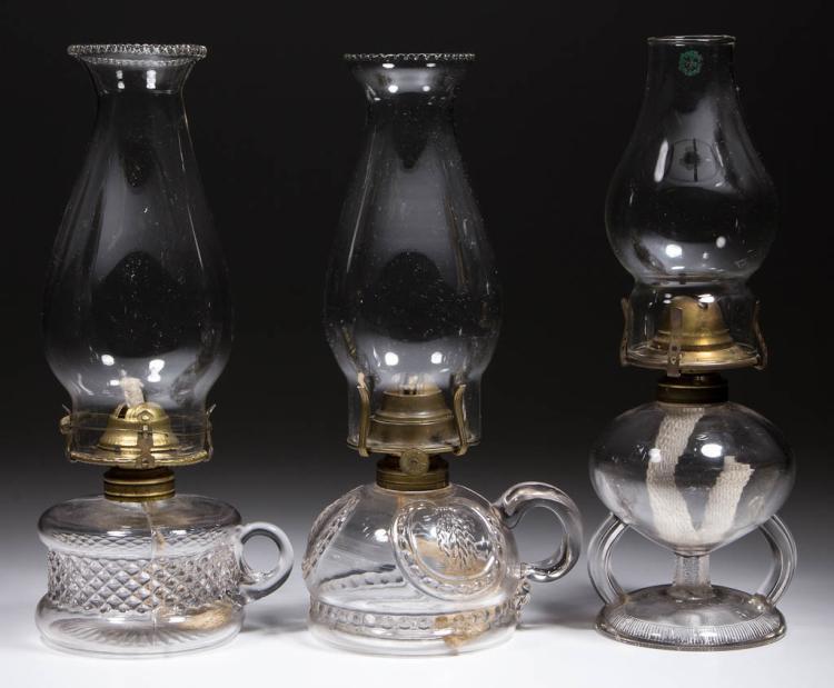 ASSORTED GLASS KEROSENE FINGER LAMPS, LOT OF THREE