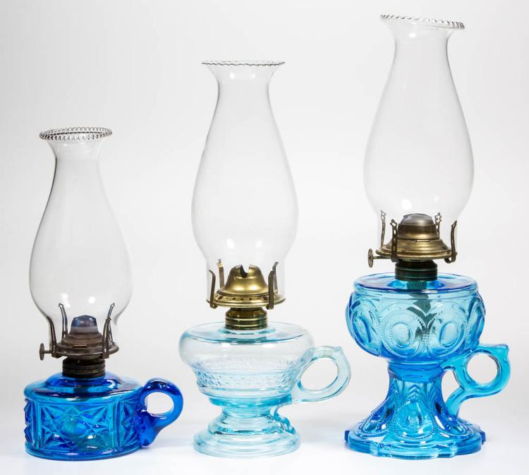 ASSORTED GLASS KEROSENE FINGER LAMPS, LOT OF THREE