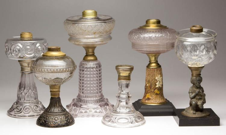 ASSORTED PATTERN KEROSENE STAND LAMPS AND BASES, LOT OF SIX