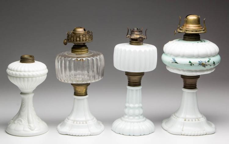 ASSORTED PATTERN KEROSENE STAND LAMPS, LOT OF FOUR