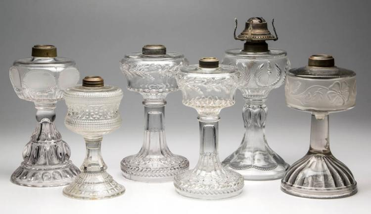 ASSORTED PATTERN KEROSENE STAND LAMPS, LOT OF SIX