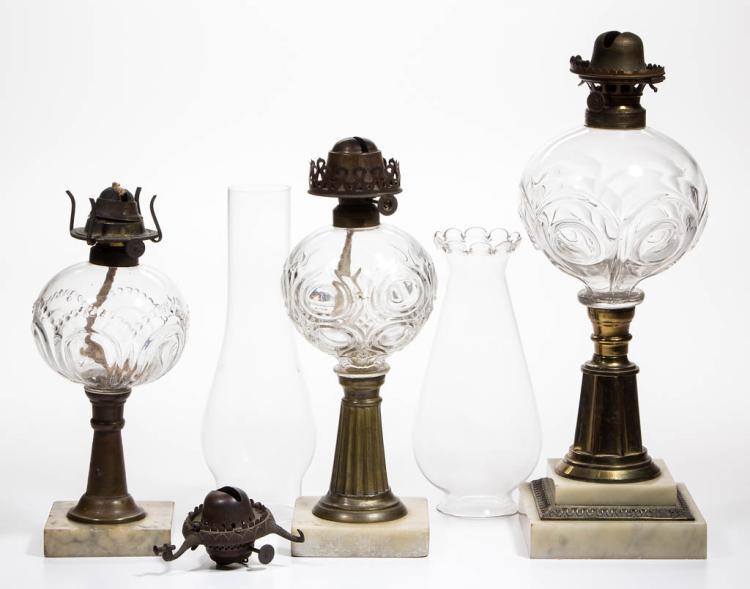 ASSORTED BULLSEYE PATTERN KEROSENE STAND LAMPS, LOT OF THREE