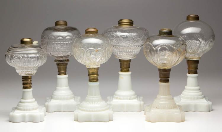 ASSORTED PATTERN KEROSENE STAND LAMPS, LOT OF SIX
