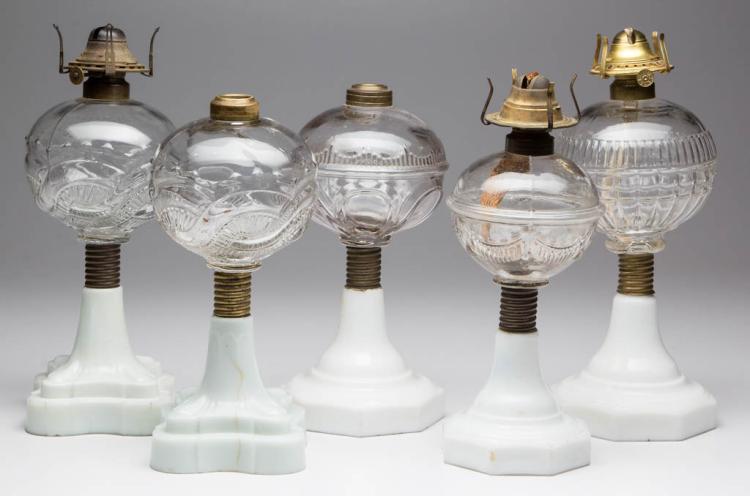ASSORTED ATTERBURY KEROSENE STAND LAMPS, LOT OF FIVE