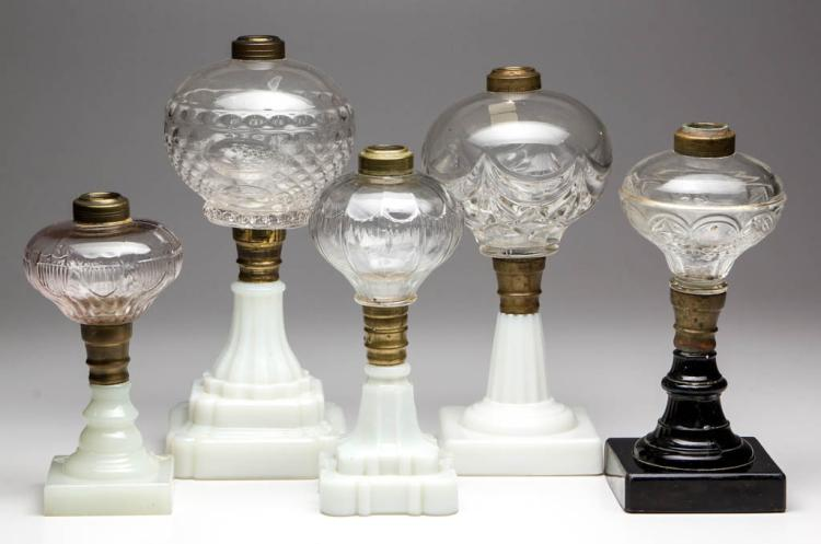 ASSORTED PATTERN FONT KEROSENE STAND LAMPS, LOT OF FIVE