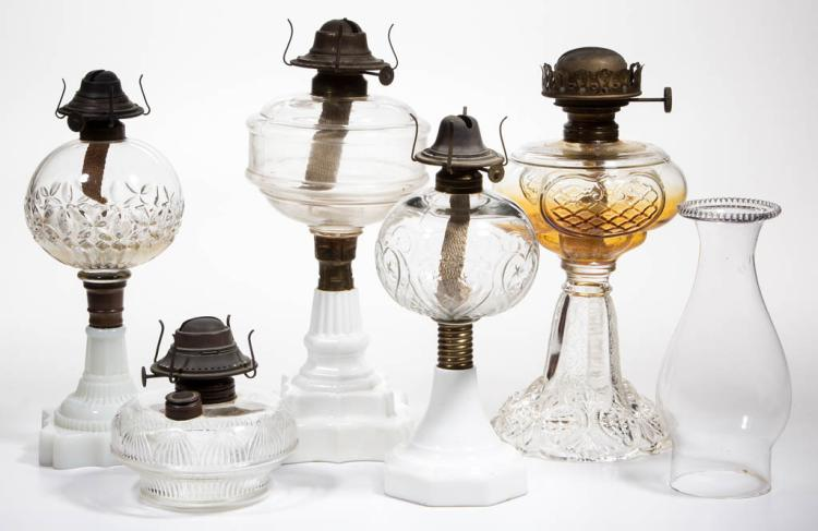 ASSORTED PATTERN KEROSENE LAMPS, LOT OF FIVE