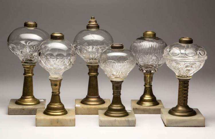 ASSORTED PATTERN FONT KEROSENE STAND LAMPS, LOT OF SIX