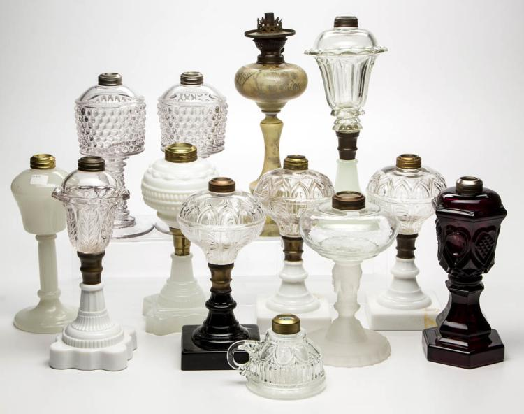 ASSORTED GLASS KEROSENE LAMPS, LOT OF 13
