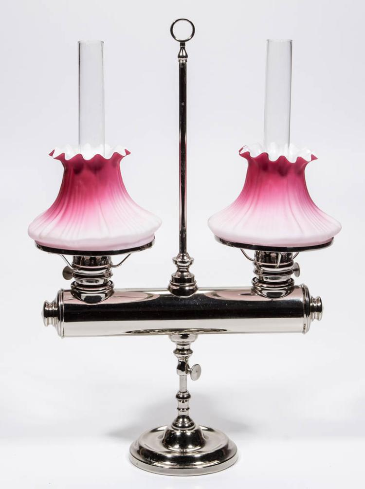 E. S. SPENCER LOG DOUBLE-ARM KEROSENE STAND LAMP