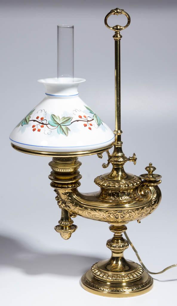 BRASS WILD & WESSEL SINGLE-ARM KEROSENE HARVARD STUDENT LAMP