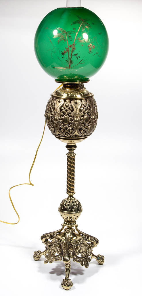 AMERICAN MIXED-METAL AND FIGURAL KEROSENE BANQUET LAMP