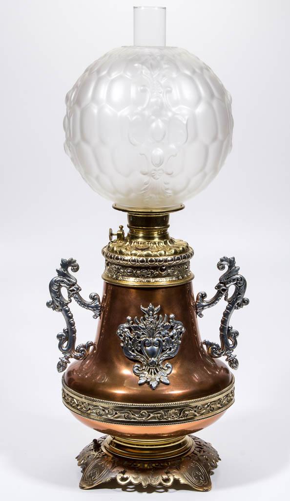 BRADLEY AND HUBBARD VICTORIAN COPPER KEROSENE BANQUET LAMP