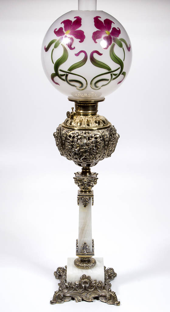 PLUME AND ATWOOD CHERUB AND SCROLL KEROSENE BANQUET LAMP