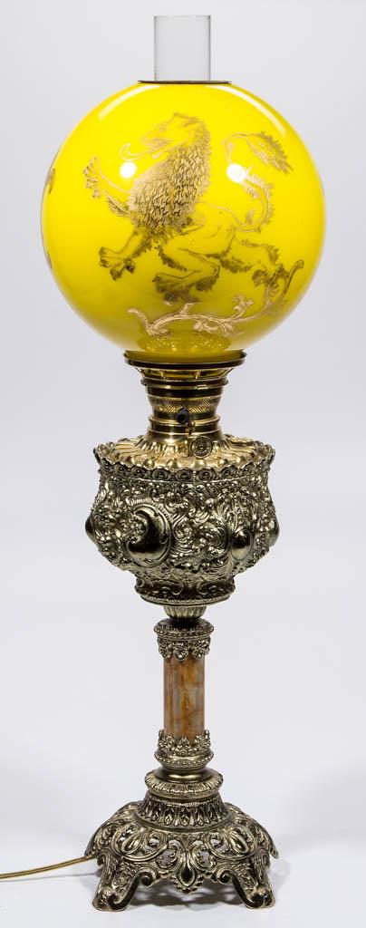 AMERICAN MIXED-METAL AND MARBLE KEROSENE BANQUET LAMP