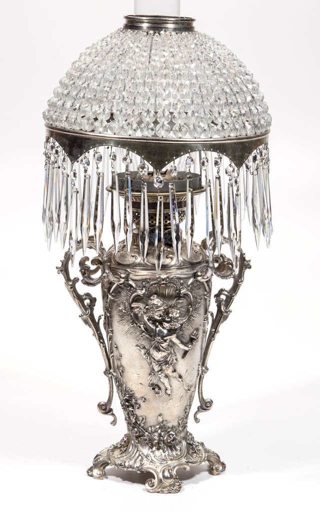 ENGLISH SILVER-PLATE KEROSENE BANQUET LAMP