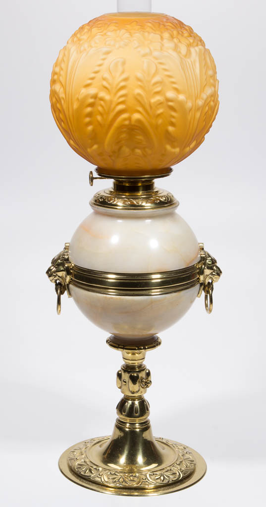 VICTORIAN METAL AND ONYX KEROSENE BANQUET LAMP